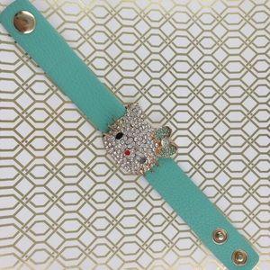 Mint Faux Leather Kitty Bracelet